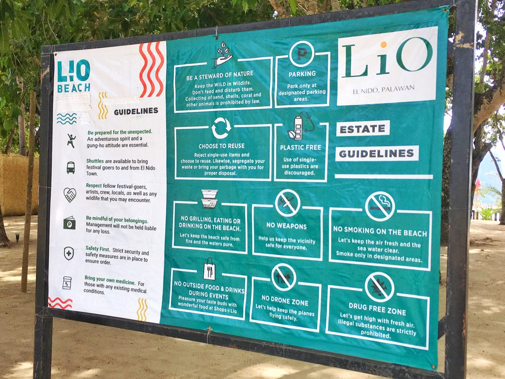Rules Sign at Lio Beach El Nido