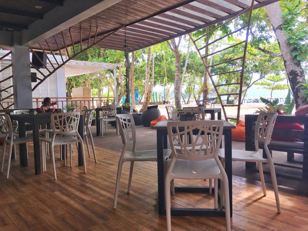 Inside restaurant at Lio Beach
