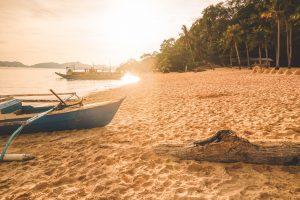 Sunset on island in Philippines