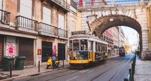 yellow cable car in Lisbon Portugal