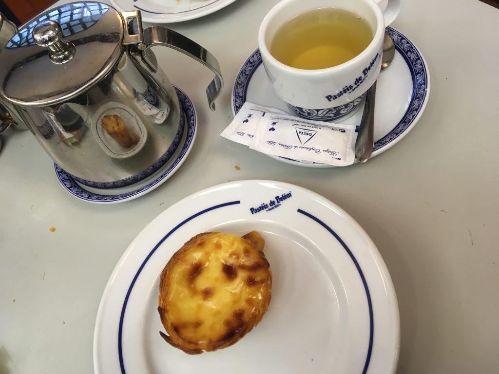 Pastels de Belem on table in Portugal