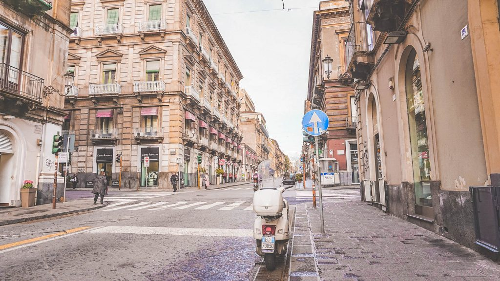 Scooter on Streets of Catania Sicily