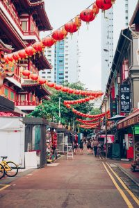 Chinatown Singapore with the Buddhist Temple and lanterns