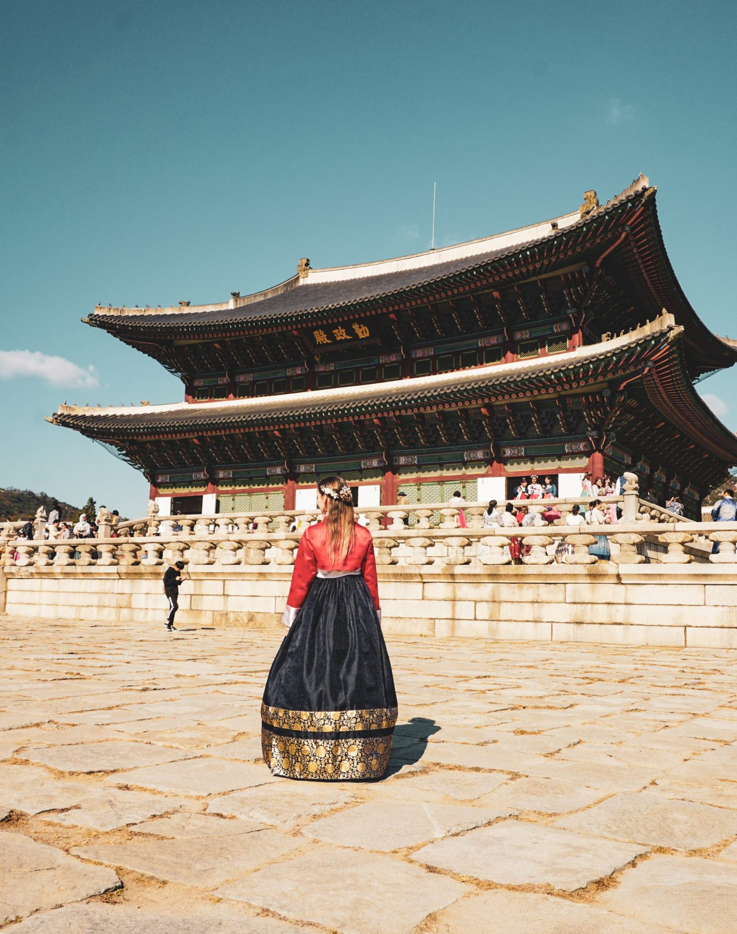 Red and Blue Hanbok in Seoul Palace