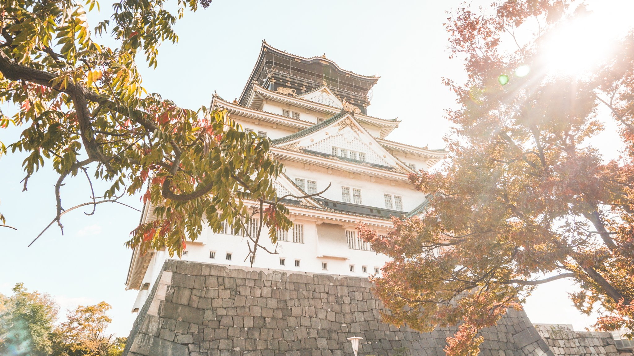 Osaka Castle in sunlight
